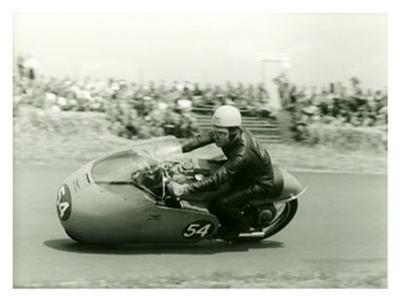 Moto Guzzi Dustbin GP Motorcycle Race-Giovanni Perrone-Giclee Print