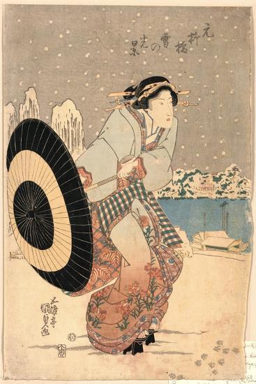 Moto-Yanagibashi Yuki No Kokei-Utagawa Toyokuni-Giclee Print