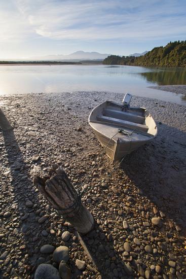 Motor Boat at Sunrise, Okarito Lagoon, West Coast, South Island, New Zealand, Pacific-Matthew Williams-Ellis-Photographic Print