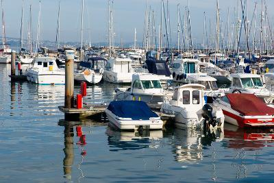 Motor Boats in a Marina with Masts and Calm Blue Sea-acceleratorhams-Photographic Print