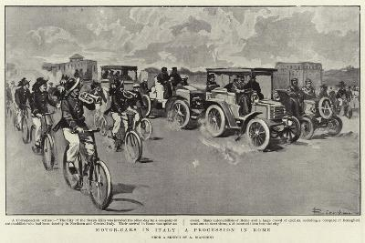 Motor-Cars in Italy, a Procession in Rome--Giclee Print