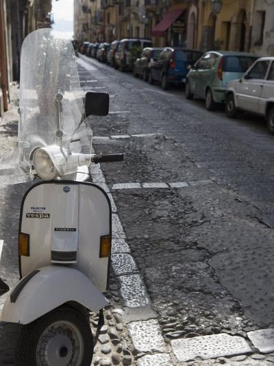 Motor Scooter Parked on Street, Cefalu, Sicily, Italy, Europe-Martin Child-Photographic Print