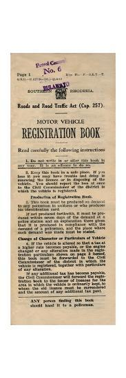 'Motor Vehicle Registration Book', 1949-Unknown-Giclee Print