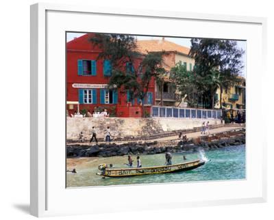 Motorboat Launching from a Dakar Beach, Senegal-Janis Miglavs-Framed Photographic Print