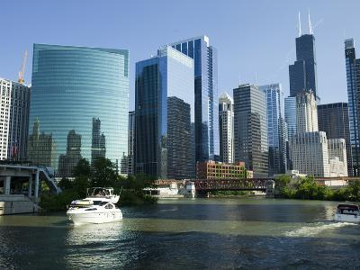 Motorboats in a River, Chicago River, Chicago, Cook County, Illinois, USA 2010--Photographic Print