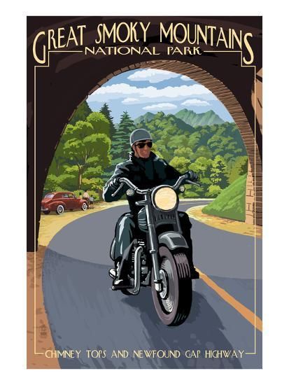 Motorcycle and Tunnel - Great Smoky Mountains National Park, TN-Lantern Press-Art Print