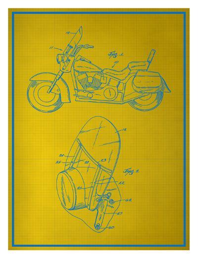 Motorcycle Blueprint--Art Print
