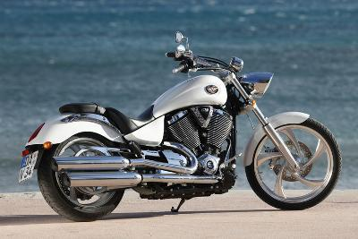 Motorcycle, Cruiser, Victory, White Metallic, Sea in the Background, Diagonal- Fact-Photographic Print