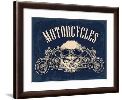 Motorcycle Side View and Skull with Glasses. View over the Handlebars. Vector Engraved Illustration-MoreVector-Framed Art Print