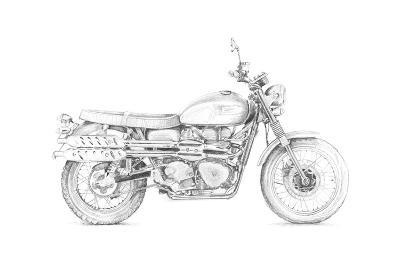 Motorcycle Sketch III-Megan Meagher-Art Print