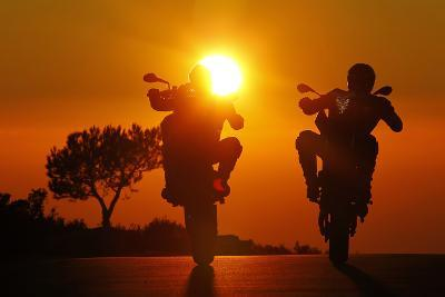 Motorcycles, Funbikes, Husquarna Nuda 900R and Ktm 990 Smc, Back Light, Sundown- Fact-Photographic Print