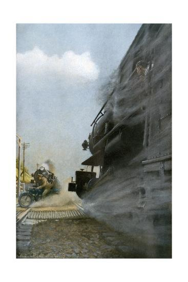 Motorcyclist narrowly Escapes Crossing Between Two Locomotives, Early 1900s--Photographic Print