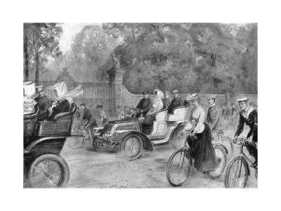 Motors and Cycles in Kensington High Street, London, 1903-Percy FS Spence-Giclee Print