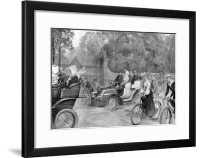Motors and Cycles in Kensington High Street, London, 1903-Percy FS Spence-Framed Giclee Print