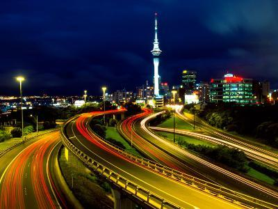 Motorways and Skytower, Auckland-David Wall-Photographic Print