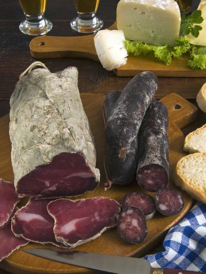 Motsetta (Mocetta), Chamois/Beef Meat Salted, Seasoned,Dried, Boudin Sausages, Goat Cheese, Italy-Nico Tondini-Photographic Print