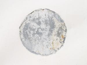 Mottled Weathered Cement Circle on White Background