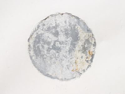 Mottled Weathered Cement Circle on White Background--Photographic Print