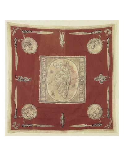 """Mouchoir de cou """"souvenir de la Corse"""" à dominante rouge--Giclee Print"""