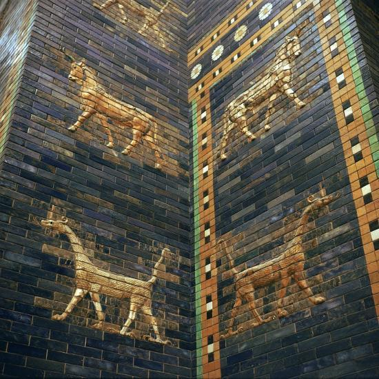Moulded bricks from the Ishtar Gate showing lions and mushrushu, 7th century BC Artist: Unknown-Unknown-Giclee Print
