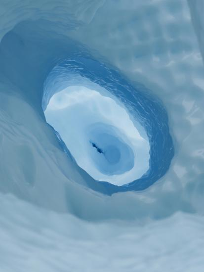 Moulin or Glacial Drain Hole Showing Blue Pressure Ice, Antarctica-Louise Murray-Photographic Print