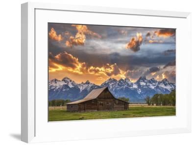 Moulton barn sunset fire-Darren White Photography-Framed Giclee Print