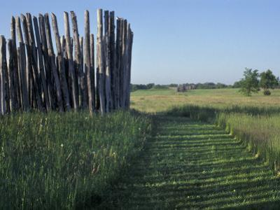 Mound and Part of Village Stockade at Aztalan, Middle Mississippian Moundbuilders Site in Wisconsin