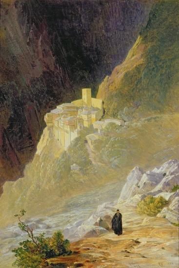 Mount Athos, the Monastery of St. Paul, 1858-Edward Lear-Giclee Print