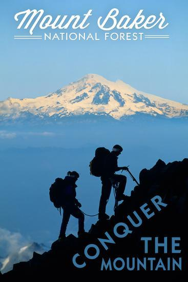 Mount Baker National Forest, Washington - Conquer the Mountain-Lantern Press-Art Print
