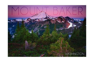 Mount Baker, Washington - Pink and Purple Sunset-Lantern Press-Art Print