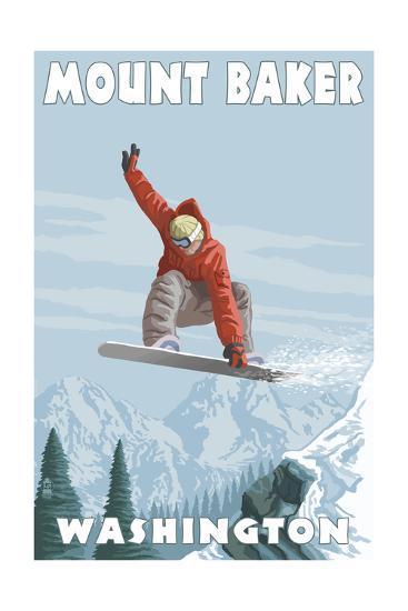 Mount Baker, Washington - Snowboarder Jumping-Lantern Press-Art Print