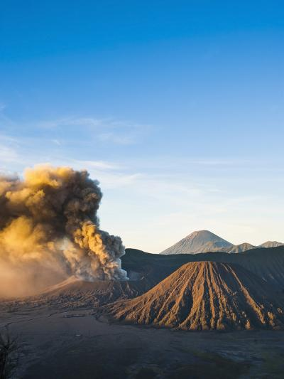 Mount Bromo Volcano Erupting at Sunrise, Sending Volcanic Ash High into Sky, East Java, Indonesia-Matthew Williams-Ellis-Photographic Print