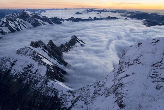 Mount Cook, Tasman Glacier and Fox Glacier at Sunset-Michael Melford-Photographic Print