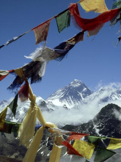 Mount Everest and Prayer Flags, Nepal-Paul Franklin-Photographic Print