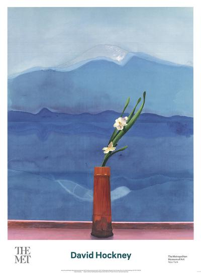 Mount Fuji and Flowers-David Hockney-Art Print