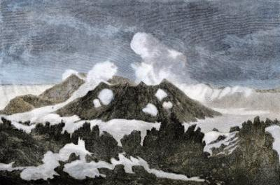 Mount Hekia Volcano with Steam Emitting from the Summit, Iceland, 1800s