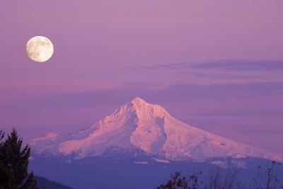Mount Hood and Full Moon-Craig Tuttle-Photographic Print