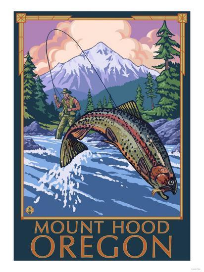 Mount Hood, Oregon - Fisherman Scene-Lantern Press-Art Print