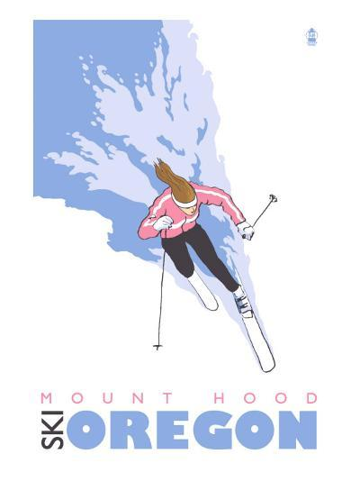 Mount Hood, Oregon, Stylized Skier-Lantern Press-Art Print