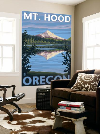 Mount Hood, Oregon, View of the Mountain from Lost Lake-Lantern Press-Wall Mural