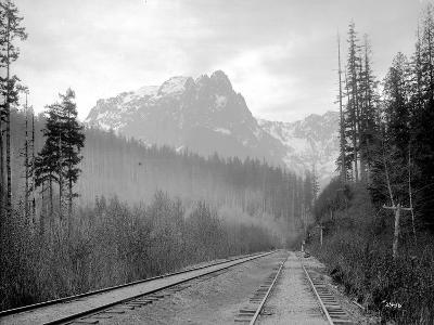 Mount Index and Great Northern Tracks at Index, 1906-Asahel Curtis-Giclee Print