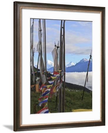 Mount Jumolhari at 7300M Seen Through Prayer Flags from Chelela Pass, Bhutan-Tom Norring-Framed Photographic Print