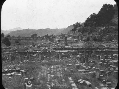 Mount Kronos and Temple of Hera, Olympia, Greece, Late 19th or Early 20th Century--Photographic Print