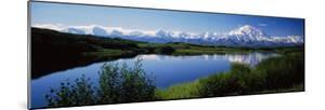 Mount McKinley and Alaska Range, Lake Reflection, Green Hills, Denali National Park, Alaska, USA