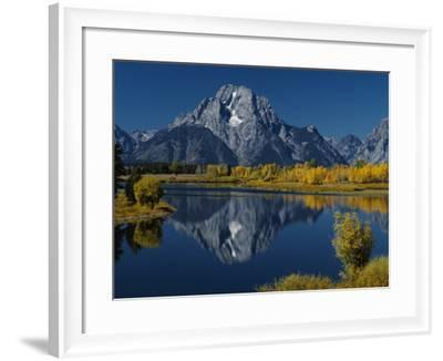 Mount Moran and the Surrounding Autumn Foliage are Reflected in River-Jeff Foott-Framed Photographic Print