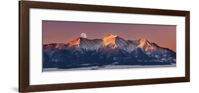Mount Princeton Moonset at Sunrise-Darren White Photography-Framed Giclee Print