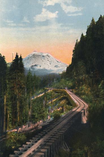 'Mount Rainier from the C. M. & P. S. R. R.', c1916-Asahel Curtis-Photographic Print