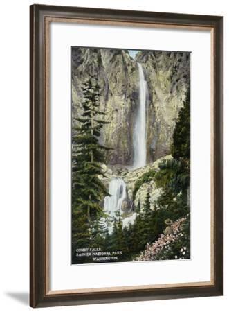Mount Rainier Nat'l Park, Washington - View of Comet Falls, c.1912-Lantern Press-Framed Art Print
