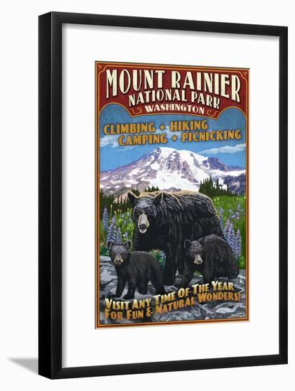 Mount Rainier National Park - Bear Family Vintage Sign-Lantern Press-Framed Art Print