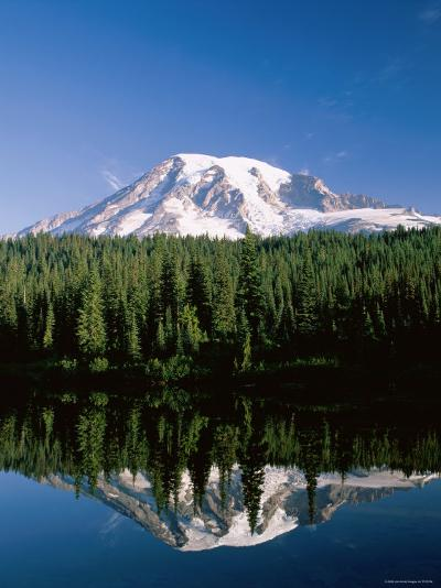 Mount Rainier National Park, Mount Rainier with Snow, Washington, USA-Steve Vidler-Photographic Print